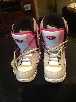 Womens Vans snowboard boots Sz Us 7.5 Pink Grey And White Worn Once