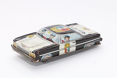 Tin Litho Toy Black & White Police Car Made In Japan