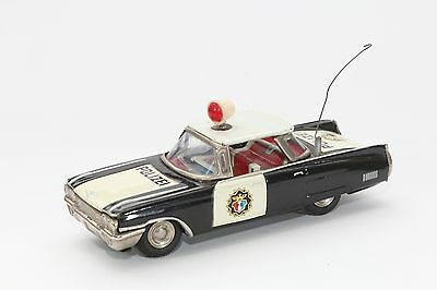 Tin Litho Toy Cadillac Black & White Police Car Made In Japan