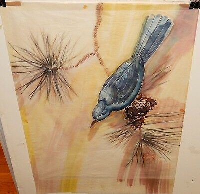 Elaine Alfoldy Blue Bird On Pine Tree Original Watercolor On Tissue Painting