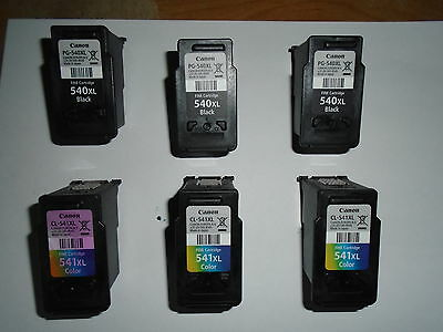 6 x 100% GENUINE CANON 540XL and 541XL EMPTY INK CARTRIDGES, NEVER REFILLED