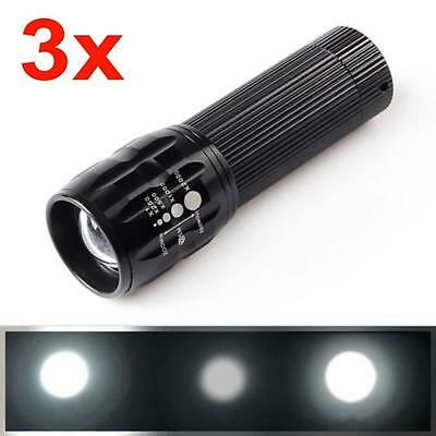 3pcs CREE 5000 Lumens Zoomable Q5 LED Camping torche Zoom Lampe Noir DD
