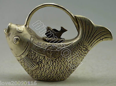 Collectible Decorated Old Handwork Silver Plate Copper Carved Fish Tea Pot