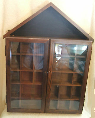 Vintage Enesco Wood Wall Hanging Glass Doors with Shelves Miniatures Cabinet