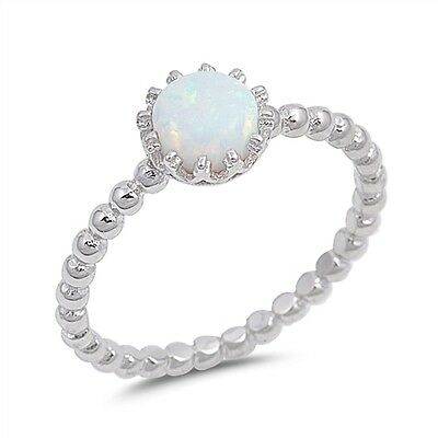 Sterling Silver 925 Opal Crown Stacking Band Ring | FREE UK Delivery