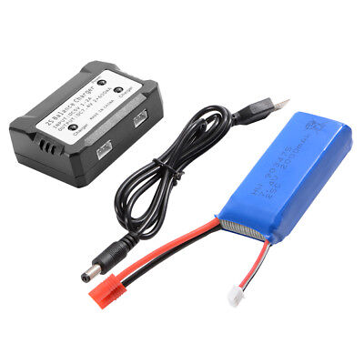 1x/2x 2000mAh 7.4V 25C LiPo Battery + 2S Balance Charger for Syma X8HG Drone