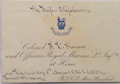 Great Britain 1885 Royal Marine Light Infantry At Home Invitation Card