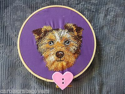 Terrier Puppy  Embroidered Wall Hanging Handmade 5 inch wooden hoop