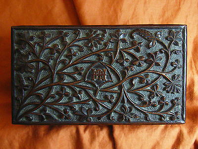 Antique Indian Deeply Carved Rosewood Hardwood Box Gift