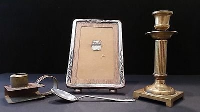 2 Vintage Brass Candle Holders And Picture Frame. All Ok.