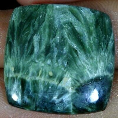 27.10cts Natural Fine Quality Green Seraphinite cushion cabochon A+ gemstone