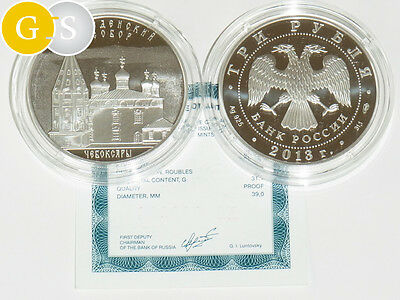 3 Rubel 1 Oz Silber PP Proof Russland 2013 Cathedral Virgin's Saint Entr. Russia