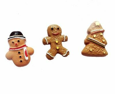 9pc Christmas Gingerbread Men Snowman Card Making Craft Embellishments Cabochon