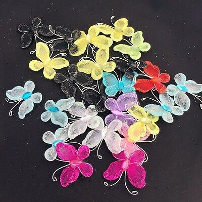 50 Mixed Wire Mesh Stocking Butterfly with Glitter Wedding Craft Embellishment