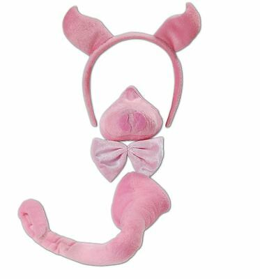Adult Kids Pig Fancy Dress Costume Set With Sound Farm Animal Tail Nose Ears