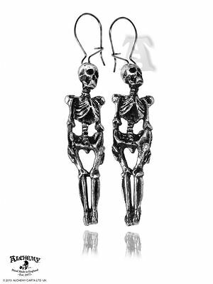 Alchemy Gothic (Metal-Wear) Skeleton Pewter Pair of Earrings BRAND NEW