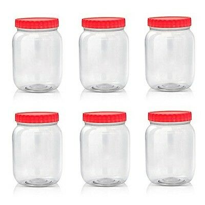Sunpet Large Red Top Plastic Food Storage Canister Size 1000 ml, Pack of 6