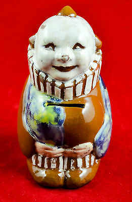 RARE Vintage Signed PERENY Pottery Clown bank, 1930's, Columbus, Ohio