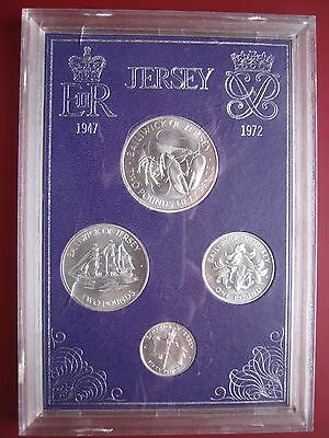 Jersey 1972 sterling silver Royal Wedding Anniversary 4 coin set 50 P - 2,50£