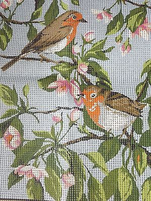 PRINTED NEEDLEPOINT EMBROIDERY TAPESTRY COTTON CANVAS Robin/Apple/Cherry Blossom