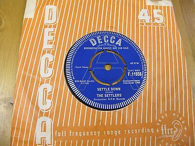 "F.11938 Uk 7"" 45Rpm 1964 The Settlers ""settle Down"" Ex"
