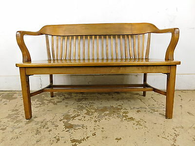 Antique Solid Maple Railroad Depot Waiting Bench Lawyers Bankers Windsor Settee