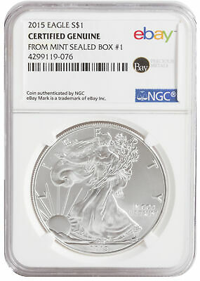2015 $1 1oz Silver American Eagle -- NGC Certified from U.S. Mint Sealed Box 1!