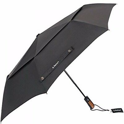 Windproof Umbrella Auto Open And Close Travel UV Black Rubber Coated Handle