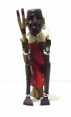Statue African Tribal Wooden Figurine Hand Carved In Kenya Man