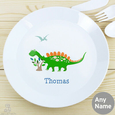 PERSONALISED Childrens Plate, Dinosaur. Plastic KIDS Dinner Plate. Childs Name