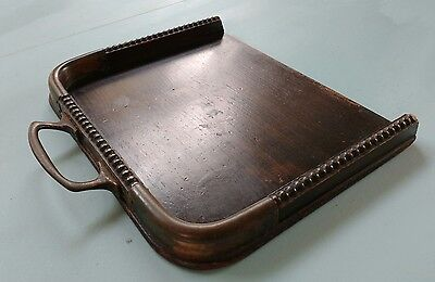 Vintage Wooden Crumb Tray with Copper Handle and Copper Corner Protectors