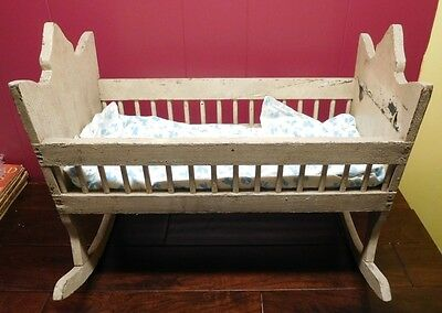 """Antique Baby Cradle Bassinet  Rocking  Large Doll use  22"""" by 12 """"  SWEET"""