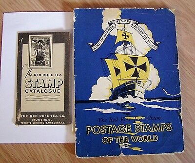 Vintage Red Rose Tea H. E. Harris & Co. Stamp Collecting Album and Catalogue
