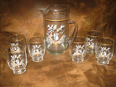 Vintage Glass Wedding Anniversary Pitcher 6 Glasses Gold Trim Over 50+ Years