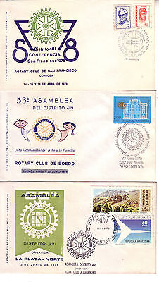 Rotary International  Argentina 1978/79 Lot Of Three Cacheted Covers