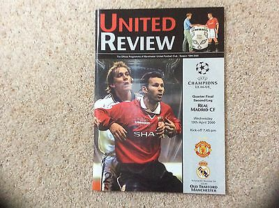 UEFA Champions League 2000 Programme Manchester United V Real Madrid