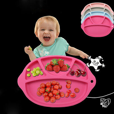 Silicone Feeding Food Plate Placemat Tray Dishes for Baby Toddler Kid Children