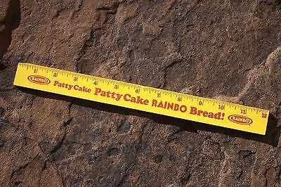 Vintage Advertising Rainbow Bread Wooden Ruler Patty Cake Grocery
