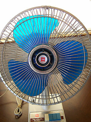 Vintage Patton Oscillating Fan Blue Blade Kdk 12 Inches Desk Table Office Room