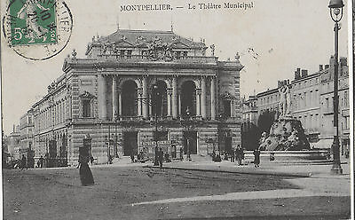 Cpa 34 - Montpellier - Le Theatre Municipal - Bien Animee - 1918