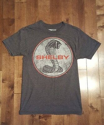 Vintage Style SHELBY Cobra Ford T-Shirt Size S Cotton/Poly Faded Gray with Logo