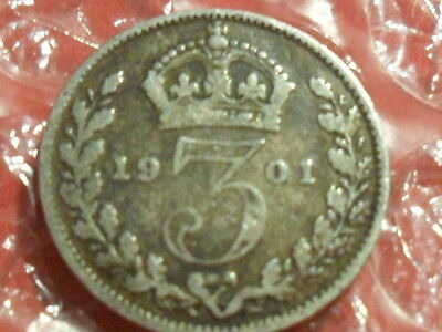 1901 Victoria Old Head Silver Threepence.