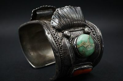"""Large Navajo Sterling Silver Turquoise Coral Watch Cuff 7"""" 107g Signed HJ BS1003"""