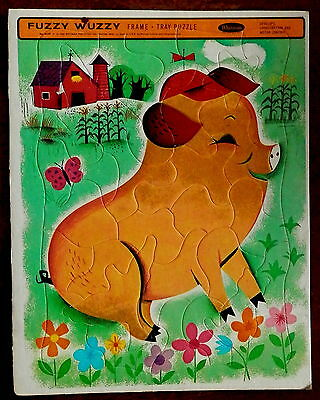 1964 Frame-Tray Inlay Picture Puzzle FUZZY WUZZY  Pig   Complete in Tray