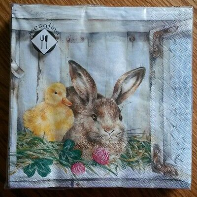 "20 ct 3 ply Paper Party Lunch Napkins 13"" ~ Easter Bunny with Chick"