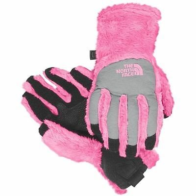 New The North Face Girls Denali Thermal Etip Gloves Mint PINK NWT Medium