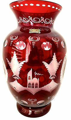 """Egermann Czech Republic Etched Ruby Red Art Glass Vase with Label Large 10.5"""""""