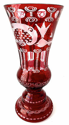 """Egermann Czech Republic Crystal Ruby Red Art Glass Vase with Label 12"""" Tall"""