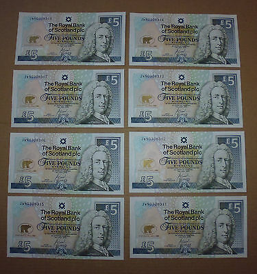 JACK NICKLAUS RBS £5 NOTE x 8 - UNCIRLCULATED & SEQUENTIAL