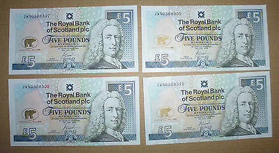 JACK NICKLAUS RBS £5 NOTE x 4 - UNCIRLCULATED & SEQUENTIAL
